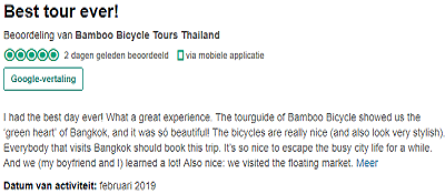 Excellent tripadvisor review Bamboo Bicycle Tours