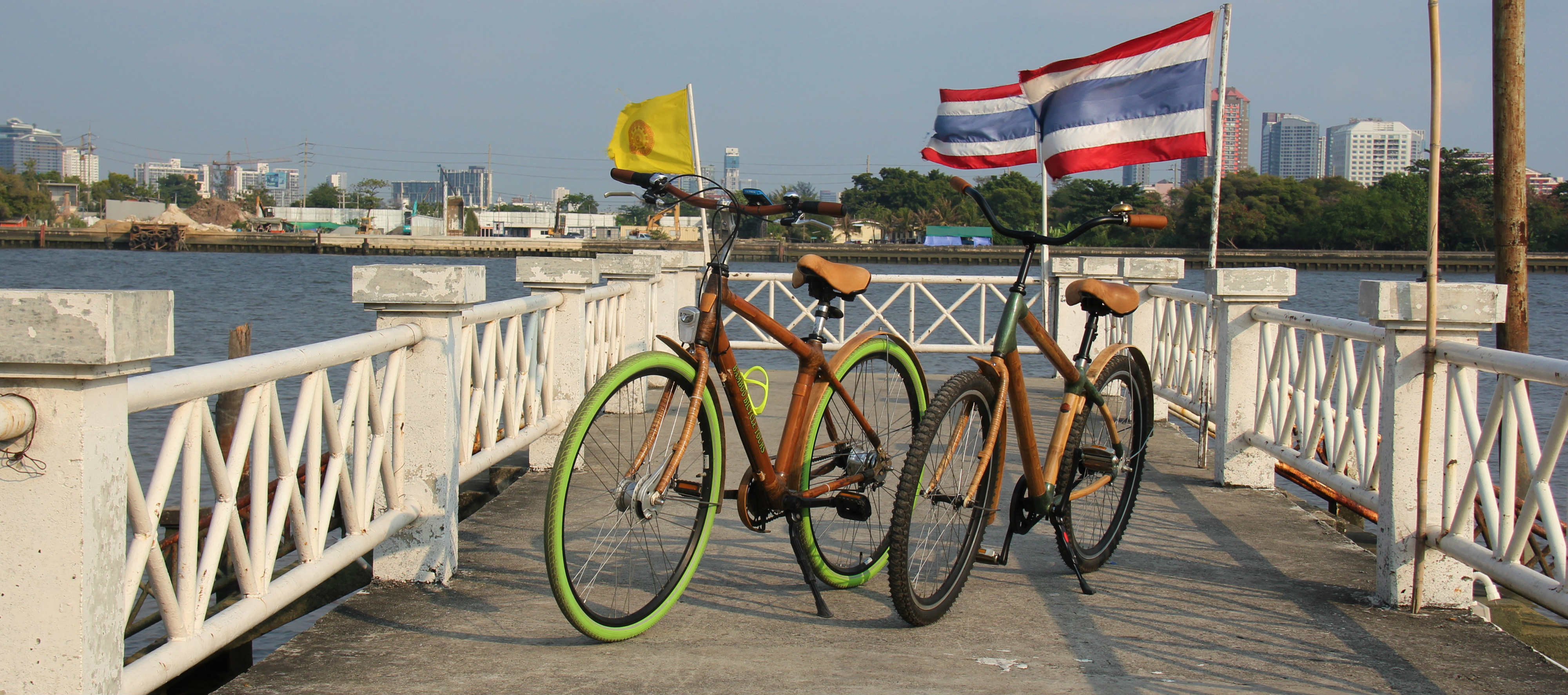 Bang Krachao bicycles on the pier